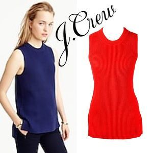J. Crew Ribbed Sleeveless Sweater Tunic Size S Red